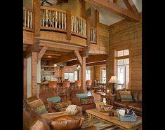 log home great room floor plan idea