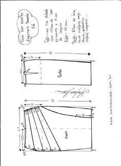 Esquema de modelagem de saia com recorte diagonal tamanho 56.