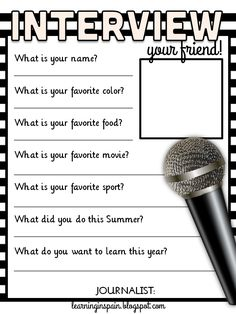 interview your friend free printable