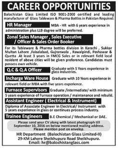 Jobs in Manufacturer of Glass Tableware & Pharma Bottles