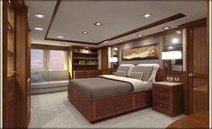 Nordhavn 120-Master Stateroom-Forward View-Custom Yacht Interior Design-Destry Darr Design