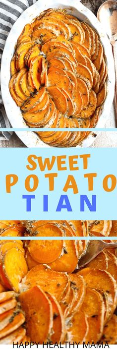 This Easy Sweet Potato Tian is the BEST ever!! It's such a great, healthy, and delicious side dish. It's perfect for any dinner, but it's so pretty it makes a great holiday dinner recipe. Great for Thanksgiving or Christmas. With parmesan cheese and spices this is incredible.