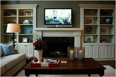 Living Room Bookshelves around Fireplace | Stylish Shelves... in familyroom.