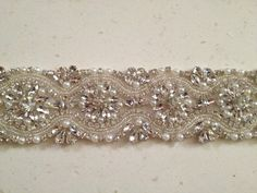 """REMNANT SALE - Decadent bridal crystal pearl trim, 14.5"""" x 2"""" wide beaded bridal trim, pearl crystal trim for wedding belts - ready to ship on Etsy, $75.00"""