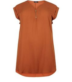 3ac2047db8a Curves Brown Longline Zip Front Tunic Top. Long ...