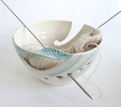 Schöne Strick Schale weißes Garn Schüssel von blueroompottery