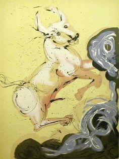 Taurus by Salvador Dalí from Twelve Signs of the Zodiac, Dali and I share the same birthday. Salvador Dali Paintings, Art Beauté, Astrology Taurus, Zodiac Taurus, Les Religions, Creative Art, Les Oeuvres, Zodiac Signs, Art Photography