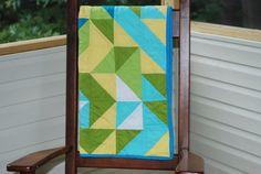 Modern Baby Quilt yellow quilt green quilt modern by RedEyedStudio