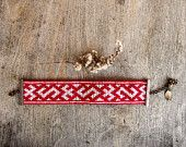 Tribal Beaded bracelet cuff bronze chain clasp Latvian symbols Red and white significant jewelry