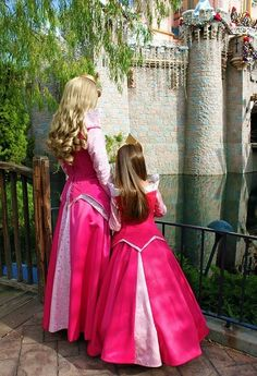 Aurora and mini Aurora- I would have died for a picture like this...then again, it was impossible to find an aurora costume, even more so to find her in the parks, back then.