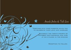Brown and Blue wedding Invitations
