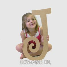 Unfinished Letters Curlz Paintable Large Letter 24'' Wall Decor (J) build-a-cross.com wooden wall hanging item large wood craft $7.25