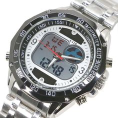 Newest Dual Display watch Solar LED Digital Quartz Wristwatches for Men Fashion Sports Military Dress Watches Digital analog LCD