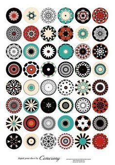1.10 inch Kaleidoscope Digital Collage Print Sheet by Cemerony