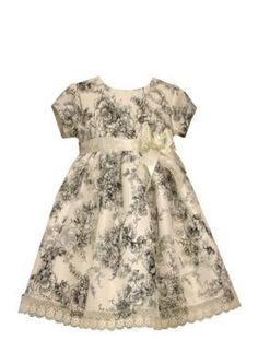 Bonnie Jean Ivory Floral Toile Shantung Dress Girls 4-6x
