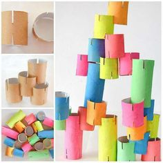 Construction activity with rolls of toilet paper. 15 Montessori Activities to Do at Home for Y. Montessori Materials, Montessori Activities, Preschool Activities, Montessori Homeschool, Montessori Toddler, Diy Crafts For Kids, Projects For Kids, Construction For Kids, Cardboard Sculpture