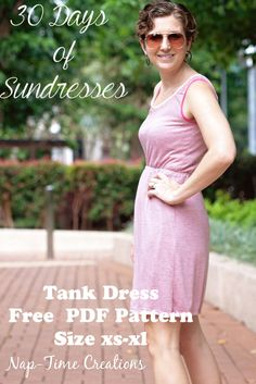 Women's Tank Dress Free Pattern- size xs-xl- made with knit fabric, perfect for summer from Nap-Time Creations