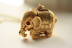 1960s Vintage Elephant Locket, Large Perfume Pendant, Gold Jewelry, Long Chain, Circus Animal, Secret Compartment, Red Disc Eyes, Pill Box