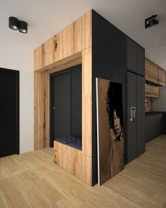 #decor #ideas #wood #black #house #home #flat Flat Interior, Modern Interior Design, Kitchen Interior, Loft Style Apartments, Latest Kitchen Designs, Hallway Furniture, New House Plans, House Entrance, Cuisines Design