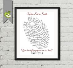 Nurse Appreciation art print You left fingerprints on our hearts retirement gift for medic doctor Personalised colleague messages printable by TheArtyApples on Etsy https://www.etsy.com/listing/230157294/nurse-appreciation-art-print-you-left