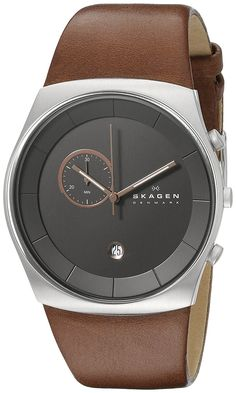 Skagen Men's SKW6085 Havene Chronograph Stainless Steel Watch with Dark Brown Leather Band *** Learn more by visiting the image link.
