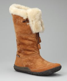 Tan Cabin Fever Boots - sporty, cozy, waterproof suede boots.