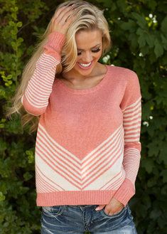 Beauty Striped Sweater Coral