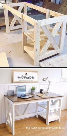of Woodworking Diy Projects - Farmhouse X Desk woodworking plans for the h., Plans of Woodworking Diy Projects - Farmhouse X Desk woodworking plans for the h., Plans of Woodworking Diy Projects - Farmhouse X Desk woodworking plans for the h. Woodworking Furniture Plans, Unique Woodworking, Woodworking Projects Diy, Diy Pallet Projects, Home Projects, Pallet Ideas, Woodworking Beginner, Popular Woodworking, Woodworking Classes