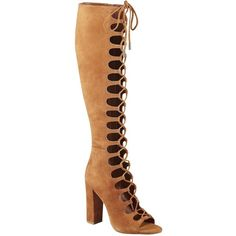 Kendall + Kylie Emma Suede Lace-Up Gladiator Boots (365 CAD) ❤ liked on Polyvore featuring shoes, boots, ankle booties, heels, cognac, suede ankle booties, lace up heel booties, cognac booties, suede open toe booties and block heel boots
