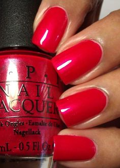 OPI- The Color of Minnie - love these red nails! Cute Nail Polish, Opi Nail Polish, Opi Nails, Toe Nails Red, Fancy Nails, Cute Nails, Pretty Nails, Bling Nails, Red Manicure