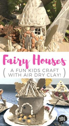 clay fairy house Learn how to make a fairy house using air dry clay and found materials. This activity encourage hours of imaginative play! Project and post by Danielle Falk of Little Ginger Studio. Clay Projects For Kids, Clay Crafts For Kids, Kids Clay, Air Dry Clay Ideas For Kids, Air Dry Clay Crafts, Clay Fairy House, Fairy Houses, Doll Houses, Clay Fairies