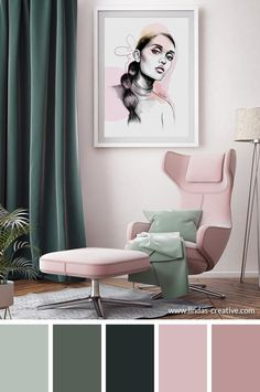 living room color scheme ideas Green, mint and pink - such a great color combination and palette. Living Room Green, Bedroom Green, Green Rooms, Living Room Decor, Bedroom Decor, Living Room Color Schemes, Living Room Designs, Bedroom Colour Schemes Green, Living Room Color Combination