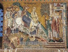 Byzantine Art : The entry of Christ in Jerusalem Mosaic of the Palatine Chapel ( Cappella Palatina ) . 12th century Palazzo dei Normanni ( Norman Palace ) Palermo , Sicily stock photo