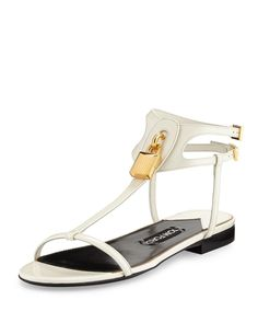 137279732f2 Tom Ford White Patent Lock T-strap Buckle Ankle Strap Flats 38 Sandals Size  US 8 Regular (M