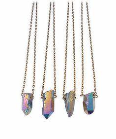 Rainbow Bullet Stone Pendant Necklace - Natural Quartz Crystal Aura- Vintage Boho Bronze Chain -Healing Stone -Short Necklace on Etsy, Quartz Necklace, Crystal Necklace, Pendant Necklace, Rainbow Quartz, Short Necklace, Stone Pendants, Crystals, Jewellery, Bullet