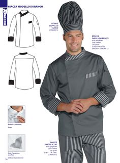 Chaqueta cocina señora y caballero Chef isacco 2016 Waiter Uniform, Chef Shirts, Hotel Uniform, Restaurant Uniforms, Uniform Design, Mens Fashion Suits, Work Attire, Fashion Flats, Chipotle