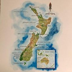 Beautiful watercolor map of New Zealand by American illustrator Michael Francis Reagan at The Map & Atlas Museum of La Jolla. Map Of New Zealand, Watercolor Map, View Map, Earth Science, Cartography, Geography, Maps, La Jolla, Photo And Video