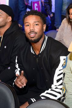 Michael B. Jordan sits in the audience during Kovalev vs. Ward and D'USSE Lounge at T-Mobile Arena on November 19, 2016 in Las Vegas, Nevada