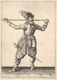 after Jacques de Gheyn II | A soldier, seen from the rear, while turning to the right and holding his pike horizontally, from the Lansquenets series, plate 30, in Wapenhandelinghe van Roers Musquetten Ende Spiessen (The Exercise of Arms) | The Metropolitan Museum of Art