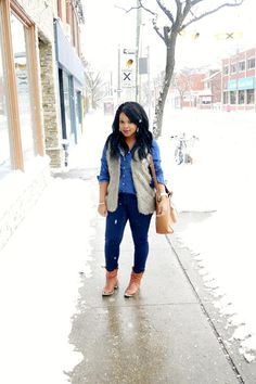 Denim on denim + fur vest | My Voguish Diaries
