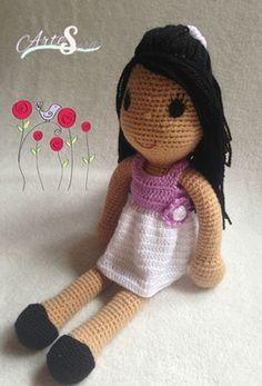 muñeca morena, amigurumi muñeca, tejida por artesesa