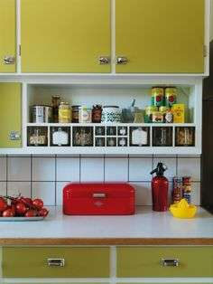 yellow & red kitchen