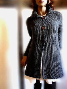 Womens hand knit sweater Merino wool long cardigan coat Charcoal Grey Many colors available via Etsy