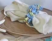 Blue Beach Burlap Floral Napkin Rings