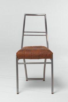 Chaise de salle à manger pour E 1027, acier nickelé, cuir brun