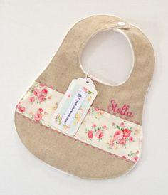 Personalised linen-mix baby bib 'Linen & More' - 20 girl / boy / unisex fabric options