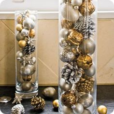 35 Gold Christmas Decorations And Holiday Decor Ideas - - - Here are 35 gold Christmas decorations and gold holiday decor. Here are some tips on how to decorate for the holidays with gold Christmas decor. Noel Christmas, Christmas Crafts, Christmas Ornaments, Glass Ornaments, Silver Ornaments, Christmas Balls, Christmas Lights, Black White And Gold Christmas, Xmas Baubles