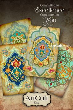 MARRAKECH - Digital Collage Sheet Moroccan style hamsa 2.5x4 inch size Gift Tags Printable Download images jewelry holders