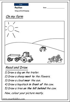 Fun kindergarten worksheets for language arts include reading readiness,phonics, and vocabulary to help your child progress in these areas. Positional Words Kindergarten, Positional Language, Free Kindergarten Worksheets, Reading Worksheets, Kindergarten Reading, Kindergarten Curriculum, Preschool Literacy, Reading Activities, Sight Word Worksheets