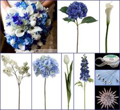 Alishia's Shades of Blue Wedding Flower Inspiration Board     -switch calla lilies for roses, gerbera daisies, etc. (mother of groom is allergic to lilies)